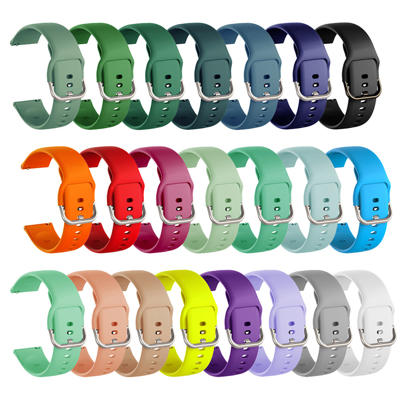 Newest 20mm 22mm Silicone Band for Samsung Galaxy Watch Active 2 Active 3 Gear S2 Watchband Bracelet Strap for Huami Amazfit bip