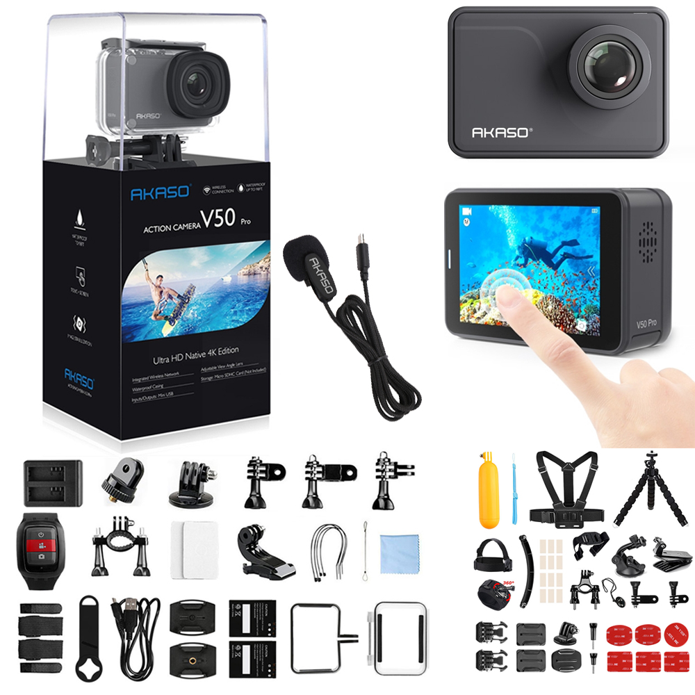 AKASO V50 PRO 4K 30fps 20MP WIFI Action Camera with ELS Touch Screen Outdoor Extrems Sport Cam View Angle 30m Waterproof Camera