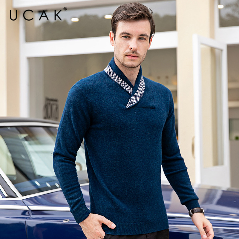 UCAK Brand Sweater Male 2019 Winter Pull Homme Marque Pure Merino Wool Warm Clothing Casual Fashion Cashmere Sweaters Men U3083