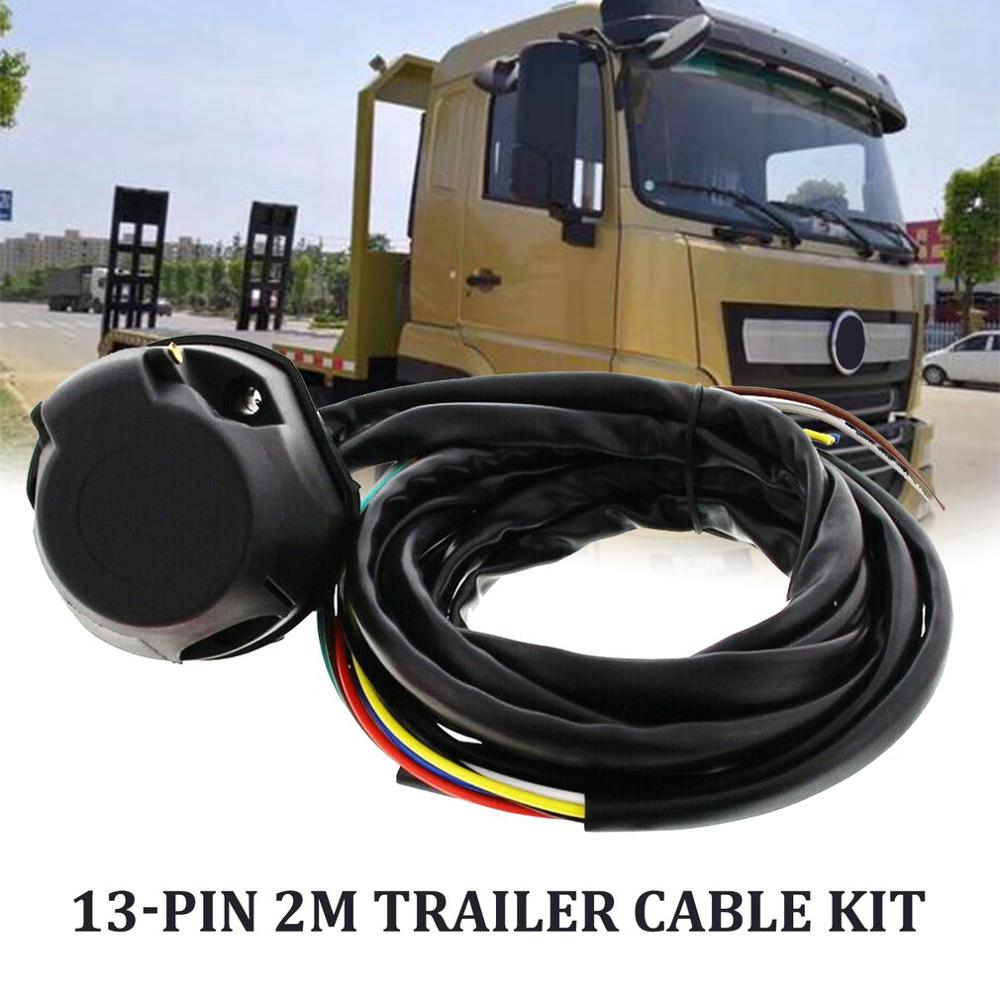 13 Core 2M Trailer Cable Kit Trailer Socket Set 13 Pin Electrical Kit E-Kit Harness Traction Hook Car Accessories