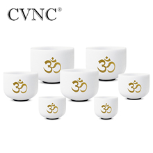 440Hz or 432Hz  8-14 Singing Bowl Chakra Tuned Set of 7PCS Frosted Quartz Crystal with OM design