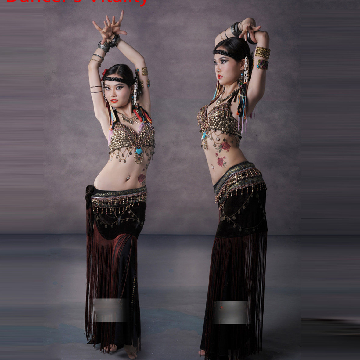 Belly Dance Costume performance set female adult tribal clothes performance suit training pants tribal belly dance wear