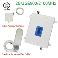 LCD display amplifier gsm 900 2100mhz dual band celular signal booster wcdma umts 2g 3g mobile phone gsm repeater for home use