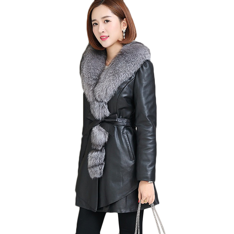 Womens long PU   leather   Jackets Winter Plus size Imitation Fox fur collar Washed   leather   Jacket Casual Warm Overcoat 4XL FF1084