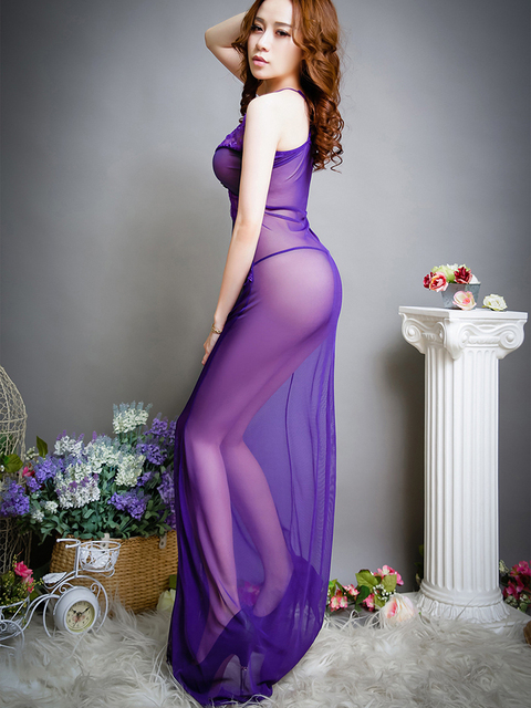 Fashion Women's See-Through Mesh Sleeveless Medium Length Sexy Dress Club Nightclub Dress Beach Cover Up Dress 3