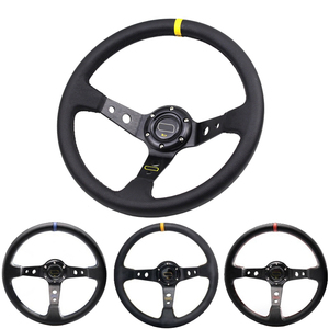 3 Colors 14inch 350mm Car Racing Steering Wheel Aluminum Bracket and PVC Leather Button Sport Steeing wheel with Logo