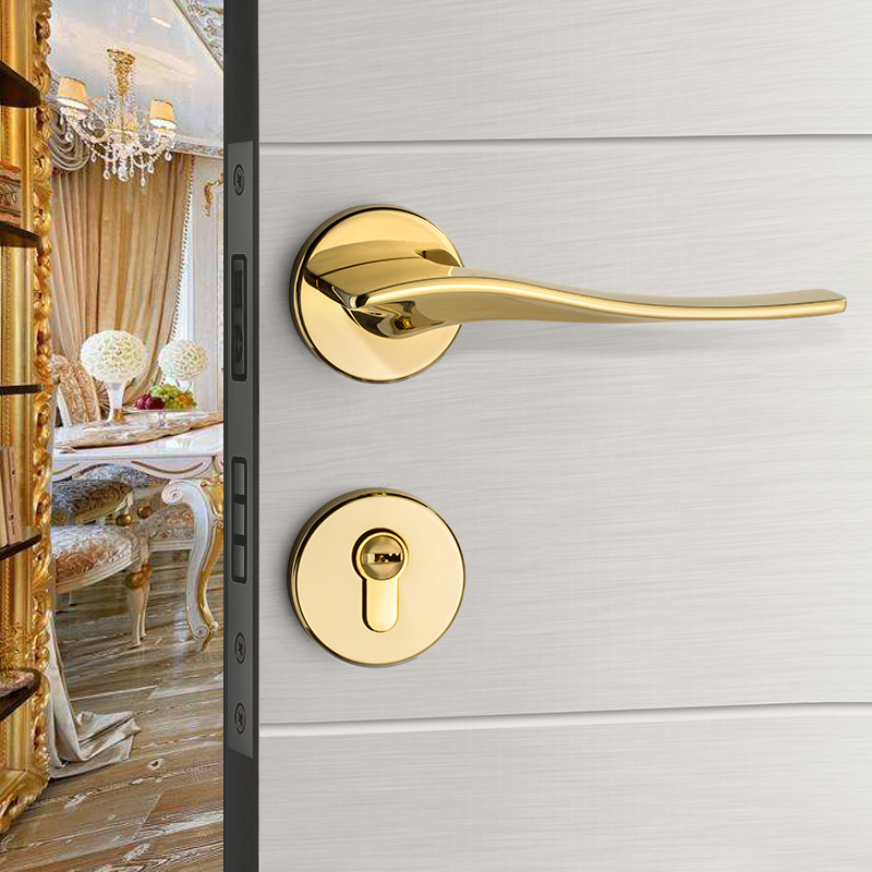 DUO ER Light Luxury European Style Mute Solid Wood Door Handle Lock Zinc Alloy Door Wholesale Furniture Indoor Modern Split Door Locks Color : Gold Left Open