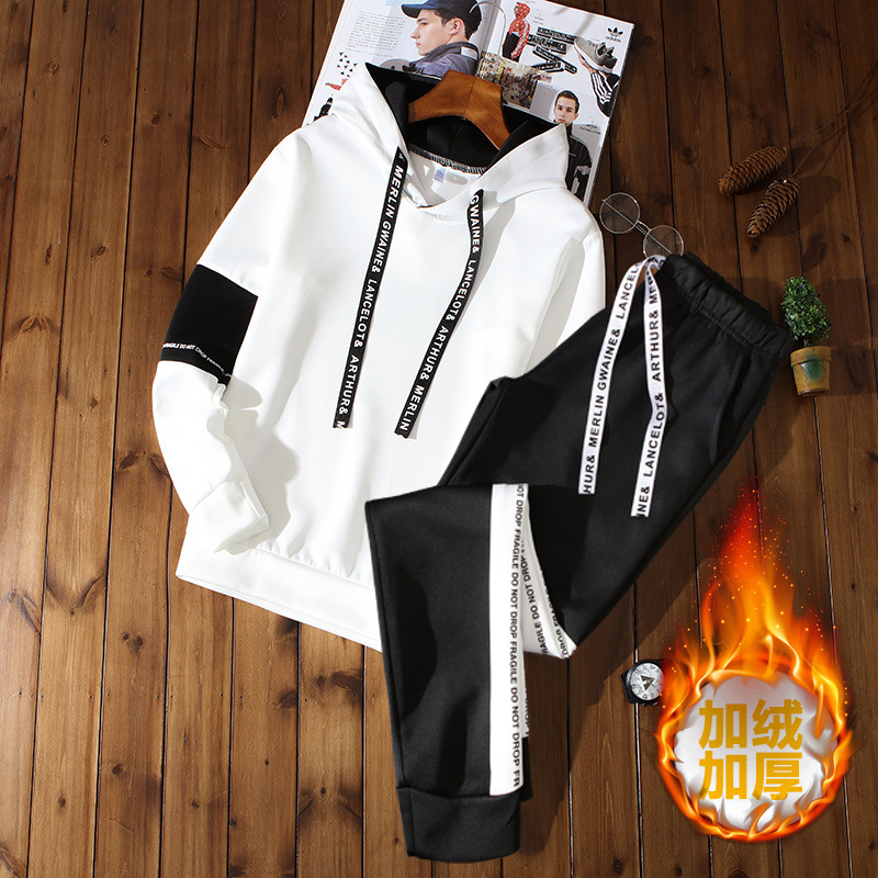 Autumn Plus Velvet Hoodie Suit Men's Hooded A Set Of Sports Clothing Teenager Students Casual Two-Piece Set T-shirt Men's
