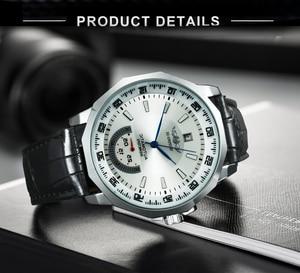 Image 5 - Vencedor oficial militar esportes relógio masculino automático mecânico sub mostradores calendário pulseira de couro dos homens relógios marca superior luxo