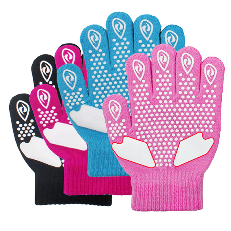 Children Skating Gloves Full Finger Rhinestone Anti-slip Thermal Handwear Outdoor Sportswear Accessories