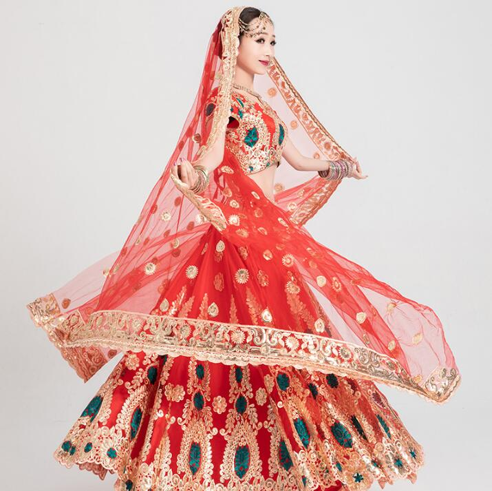 Leng Ha Performance Clothing India Wedding Gorgeous Sarees Woman Girl Beautiful Embroidery Dance Costume India Style Anna Sets