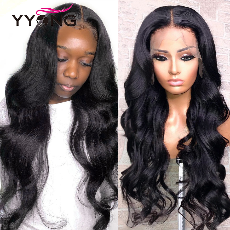 YYong-pelucas de cabello humano con onda de encaje frontal para mujeres negras, cabello humano brasileño con densidad de 150%, Remy de baja proporción