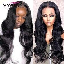 Perruque Body Wave Lace Front wig brésilienne naturelle-YYong, cheveux Remy, densité 150%, faible Ratio, perruque pour femmes africaines