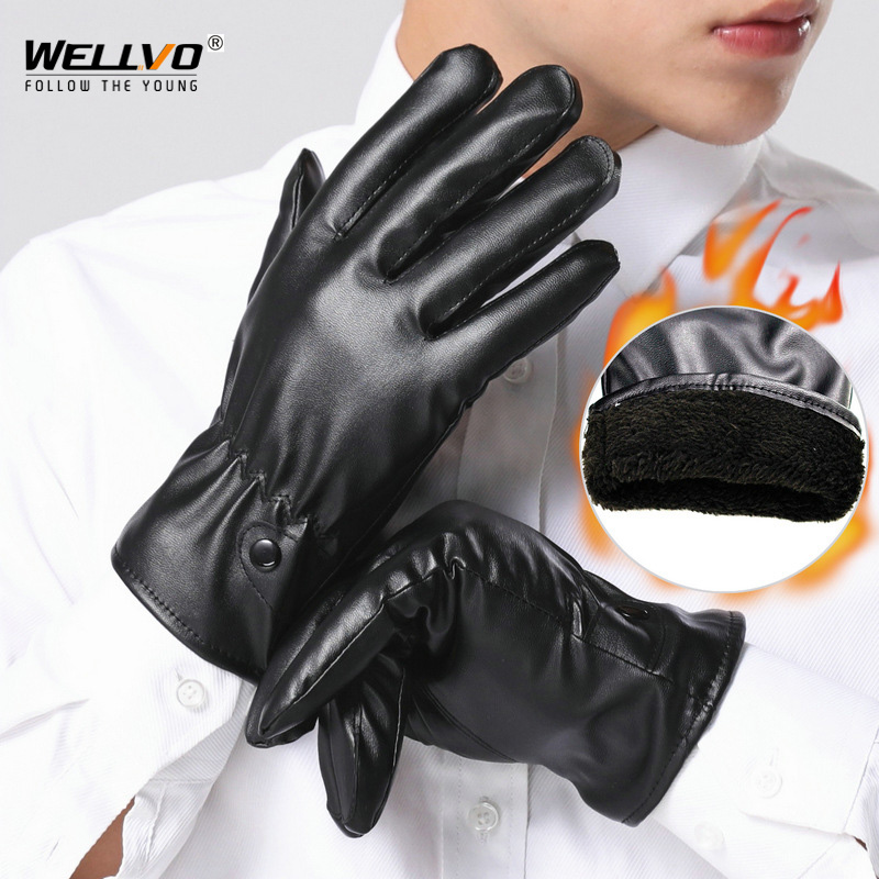 Men PU Leather Gloves Leatherette Touch Screen Gloves Winter Riding Skiing Warm Gloves Thickening Cold-proof Gloves XA6ZC