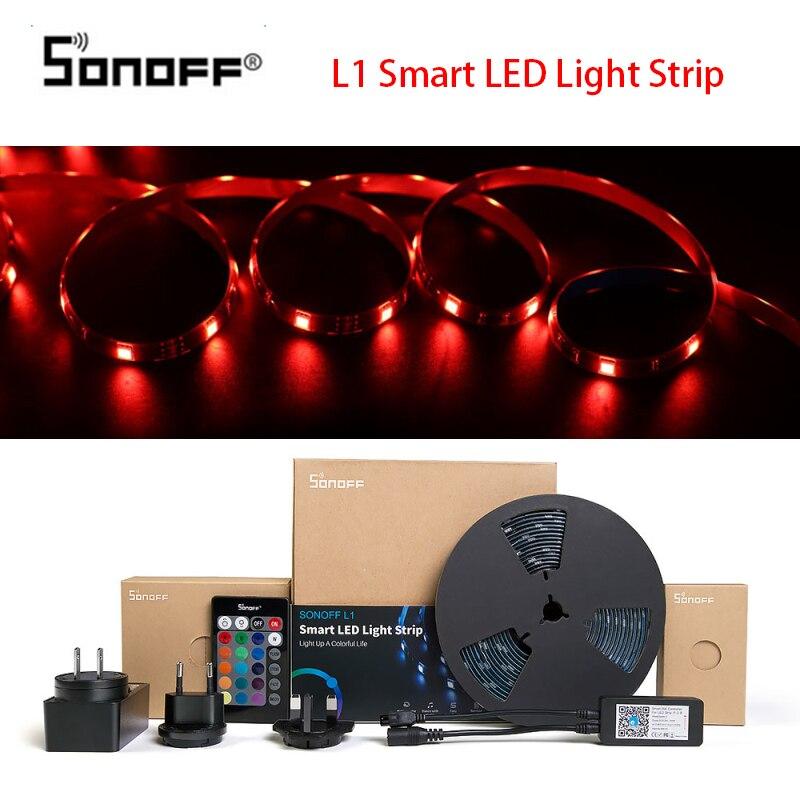 SONOFF L1 Smart LED Light Strip Dimmable Waterproof WiFi Flexible RGB 5050 Lights Work With Alexa Google Home With EU/US/UK Plug