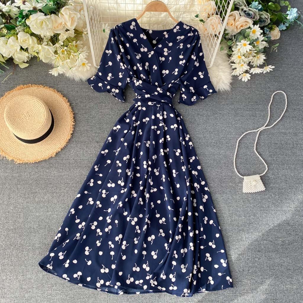 dress women plus size dress Women's Summer Casual V Neck Printed Party Dresses Short Sleeve Swing Dress vestidos de verano