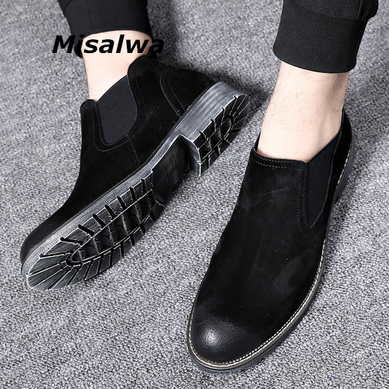 Misalwa Vintage Short Chelsea Boots Men Pig Suede Leather British Strong Pretty Men Casual Boots Winter / Spring Shoes Ankle