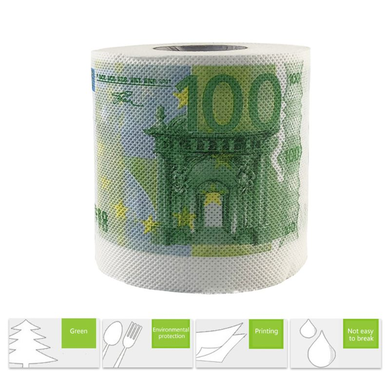 100 EUR Printed Pattern Home Bath Toilet 2-ly Paper Wood Pulp Tissue Decoration