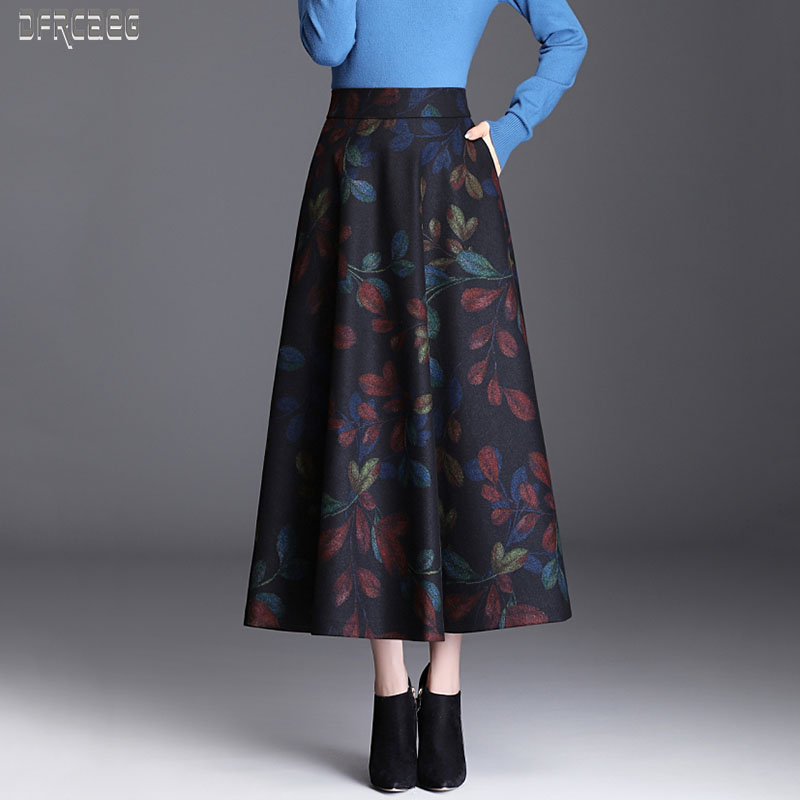 2019 New Autumn Elegant Print Elastic Waist Wool Skirts Womens Winter Warm Long Skirts For Women Flower A-Line Wool Skirt Femme
