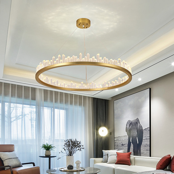 Candelabro para sala de estar, dormitorio, sala de estudio, lámpara de techo redonda, lámpara de cristal, lámpara colgante moderna para cocina, iluminación para Loft