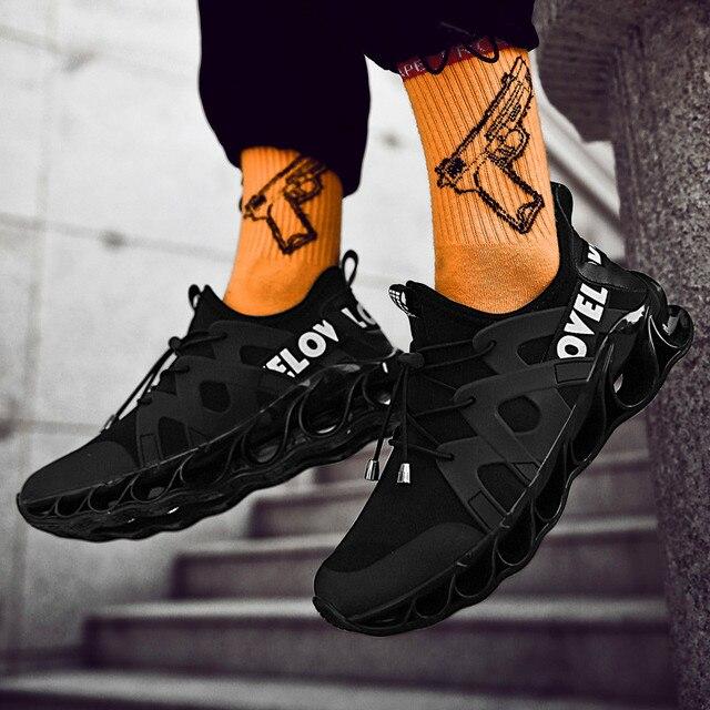 Zapatos deportivos de malla cómodos para hombre, calzado informal con absorción de impacto, zapatos de entrenamiento transpirables, zapatos de malla con cordones
