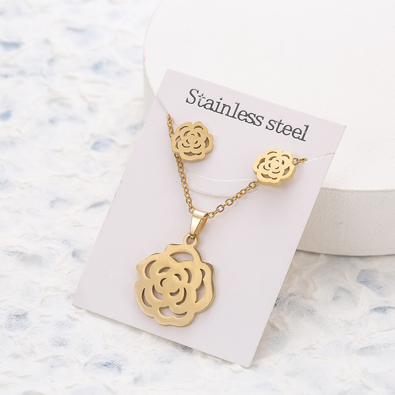New Animal Flower Butterfly Stainless Steel Pendant Necklace Sets For Women Gold Color Chain Necklace Earrings Jewelry Gifts 3