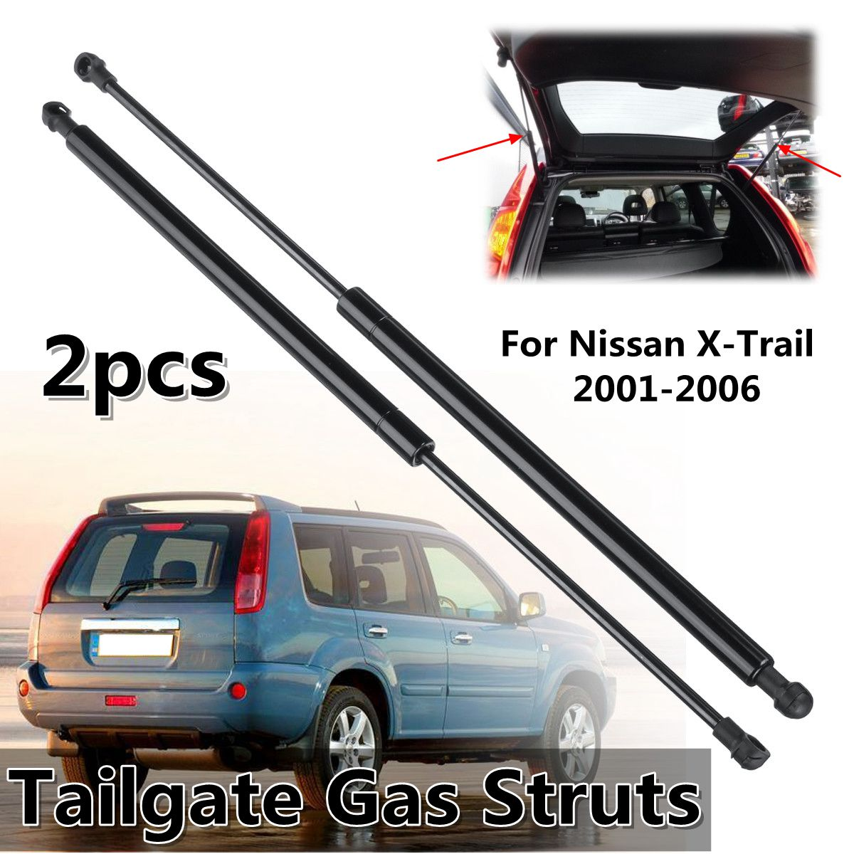 2Pcs Tailgate Trunk Boot Gas Struts Support Spring For Nissan X Trail 2001 2006 90450 8H31A 90451 8H31A 90451 EQ30A|Strut Bars| |  - title=