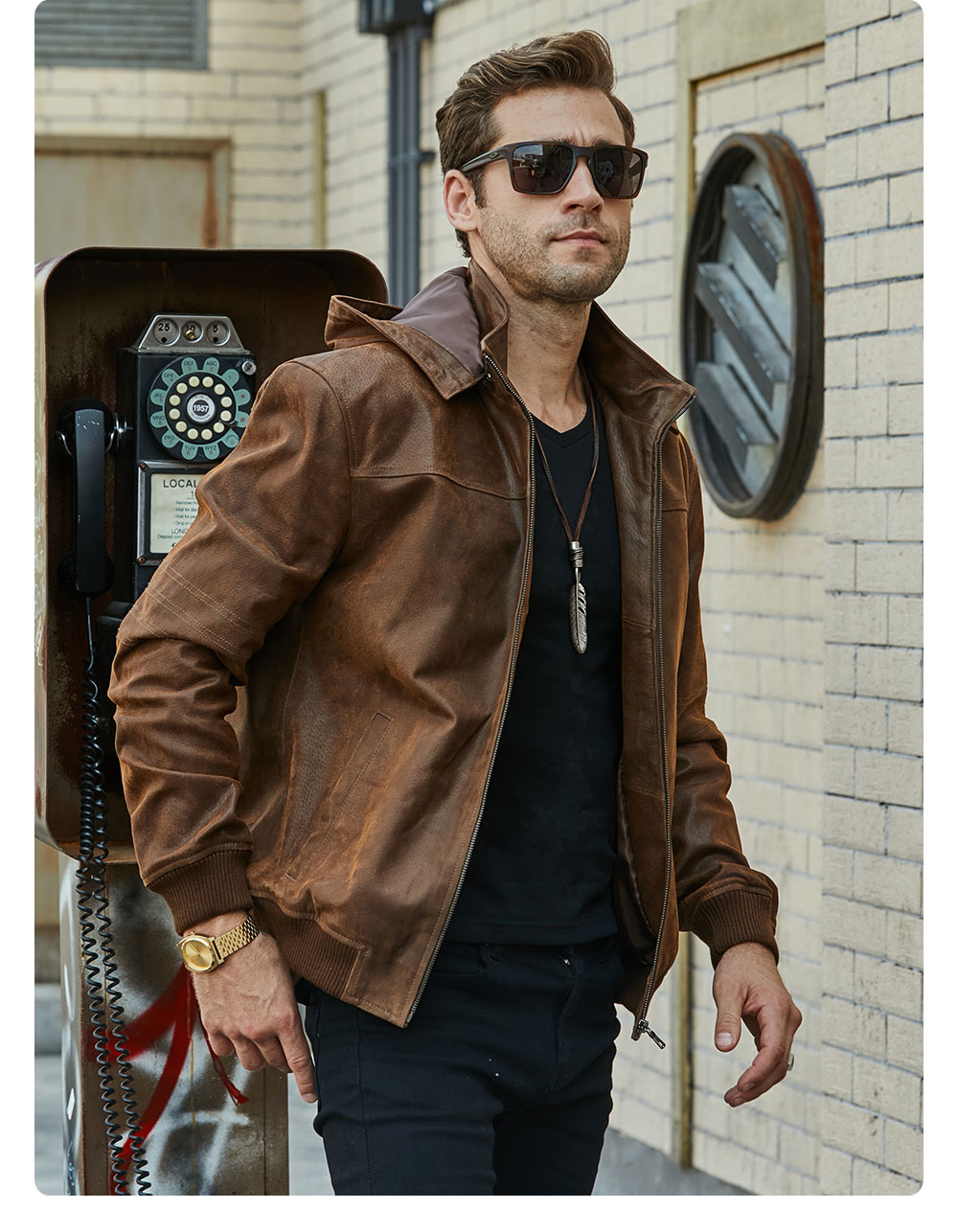 H6fe8a56432ec451c829535fc78276e94J New Men's Winter Jacket Made Of Genuine Pigskin Leather With A Hood, Pigskin Motorcycle Jacket, Natural Leather Jacket