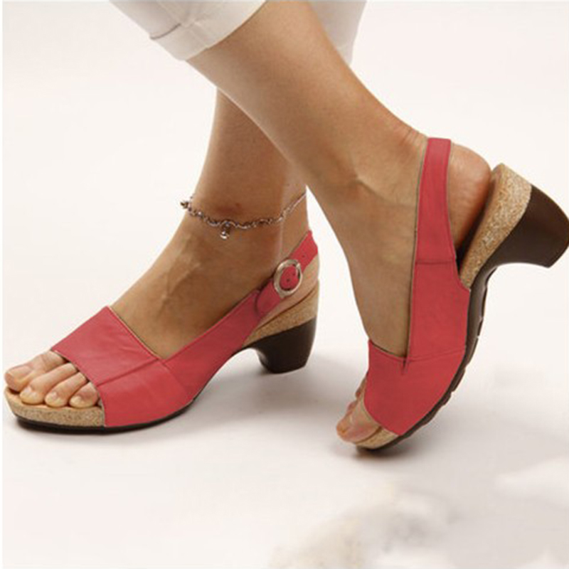 Plus Size Thick Heel Woman Sandals 2020 Summer New Peep Toe Buckle Wedges Shoes for Women Casual Shoes Sandals VT1009 (2)