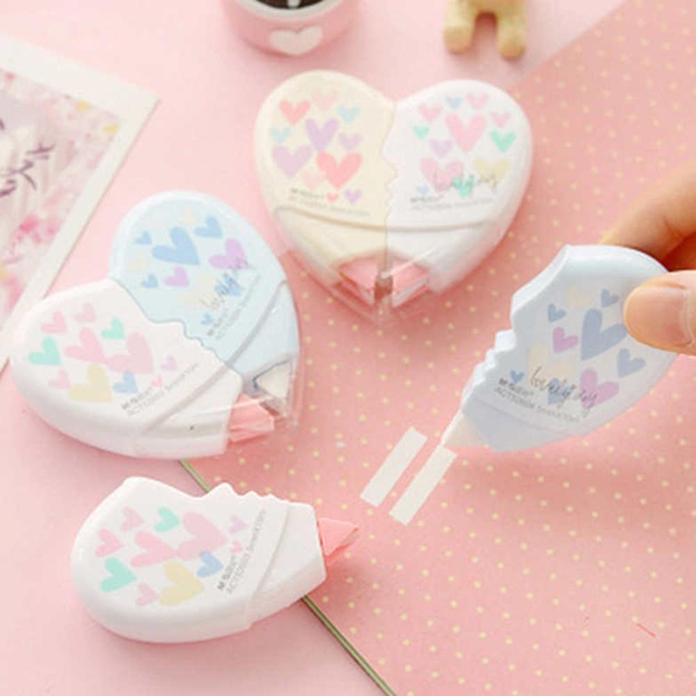 Office & School Supplies Novelty Cute Heart Shaped 10m White Correction Tape
