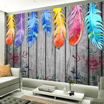 Custom Size 3d Wall Murals Wallpaper Modern Hand Painted Wood