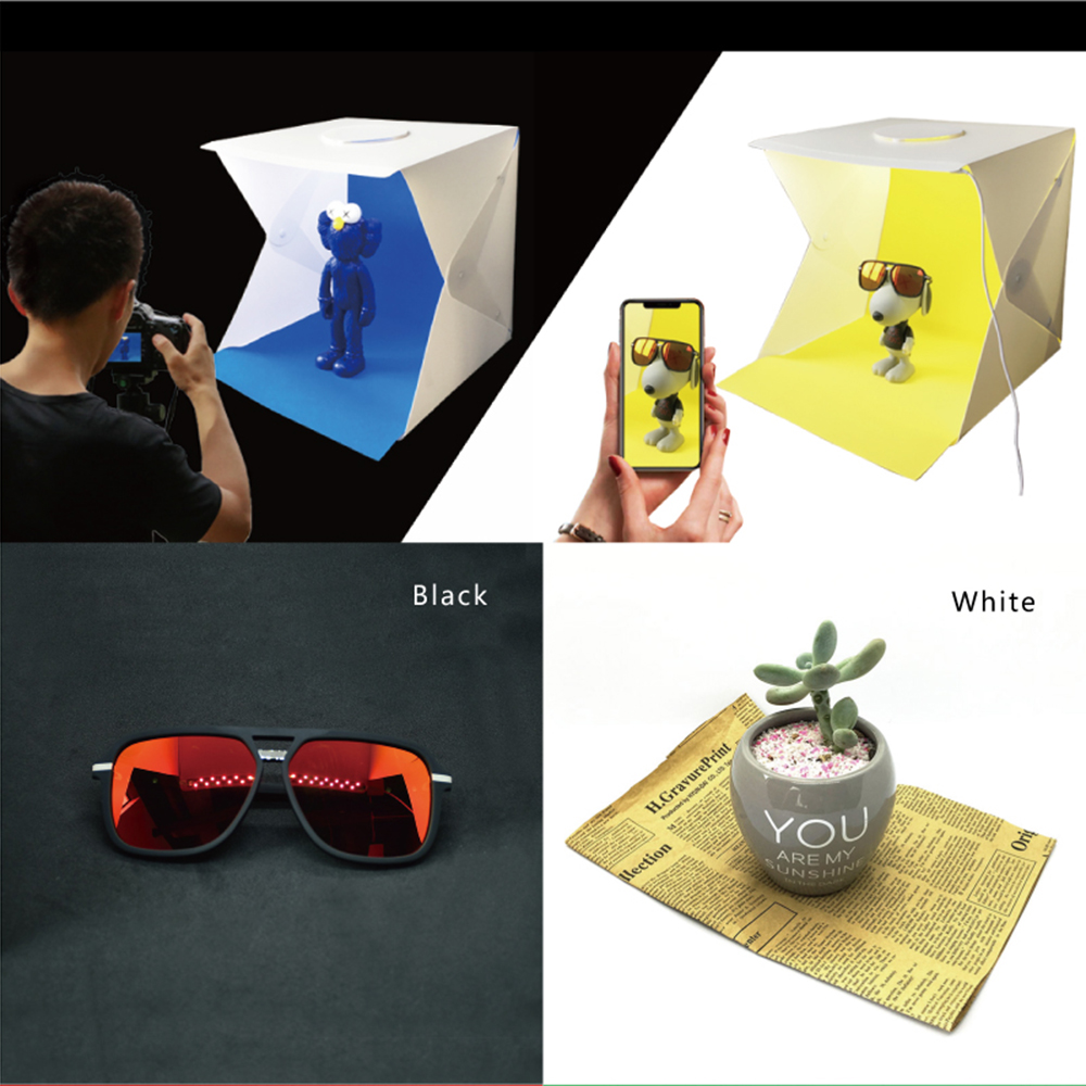 2 LED Folding Lightbox 40*40 Portable Photography Photo Studio Softbox Adjustable Brightness Light Box for DSLR Camera 4 color image