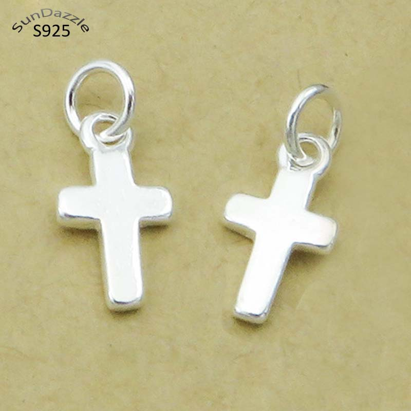 5pcs Genuine Real Pure Solid 925 Sterling Silver Jewelry Making Women Religious Cross DIY Necklace Bracelet Pendant Findings