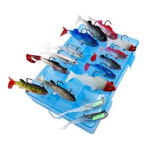 Image 4 - 15pcs/lot Lead Fish soft bait set Fishing lure kit Wobblers jig head Silicone baits lifelike Sea Bass Carp pike pesca in box