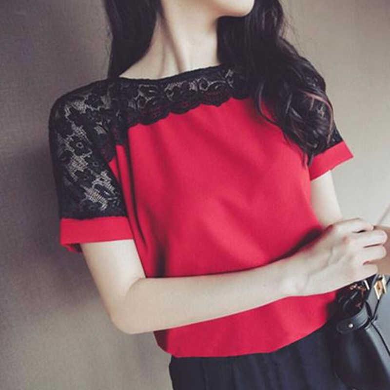 Khăn Voan Nữ Thời Trang Hàn Quốc Nữ Áo Kiểu Ren Nữ Tay Ngắn Hồng Nữ Áo Sơ Mi Plus Kích Thước 4XL/5XL Nữ Áo Blusas Mi elegante
