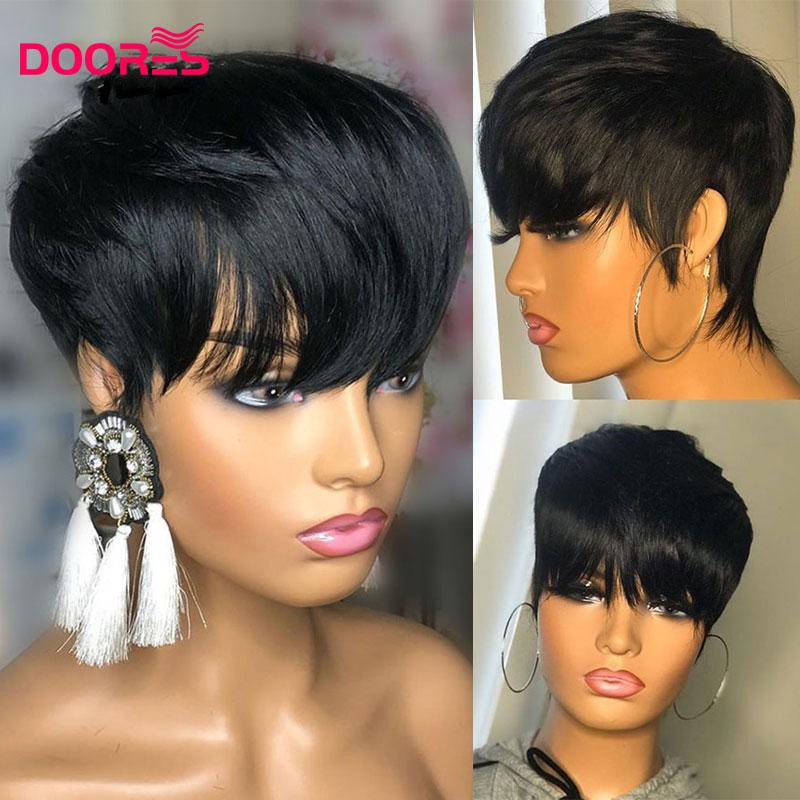 perruque courte coupe lutin droite perruques de cheveux humains avec frange remy bresilien pleine machine perruque pour les femmes m doores cheveux
