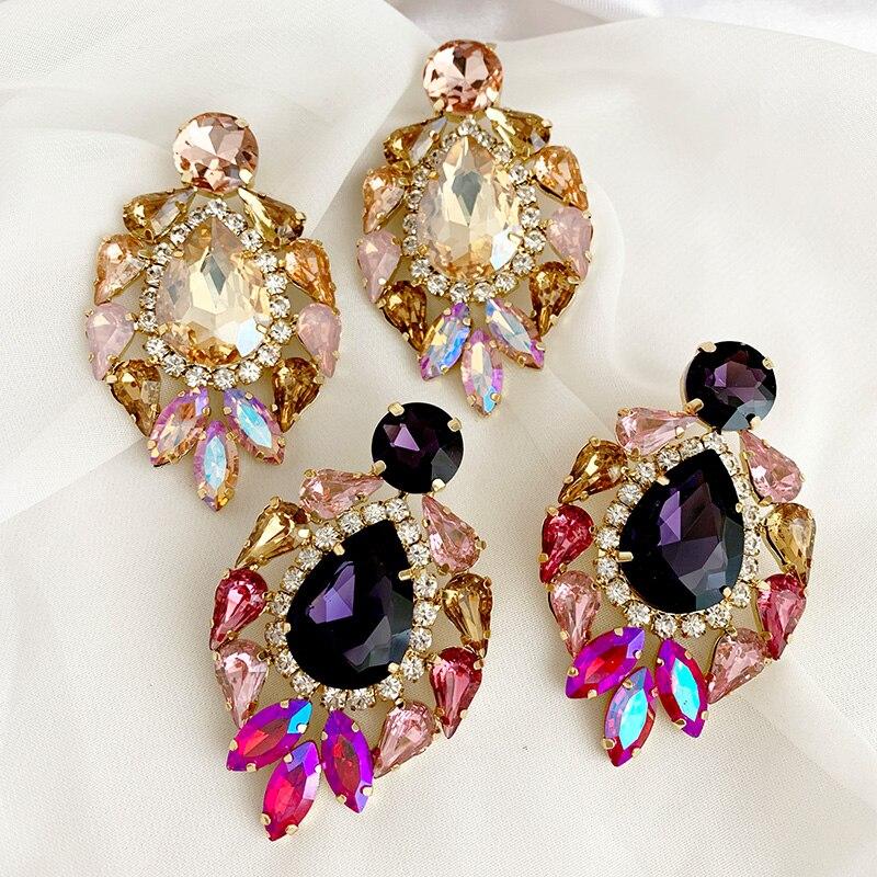 flower Crystal Earrings for Jewelry classic Luxurious color Bling Crystal long tassel drop Earrings For Women Wedding 2019