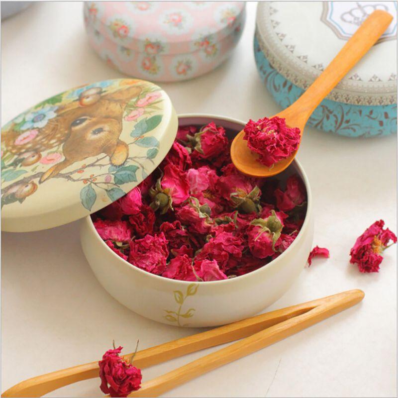 Fleurs thé caddy recevoir boîte bonbons boîte de rangement faveur de mariage boîte en fer blanc câble organisateur conteneur ménage