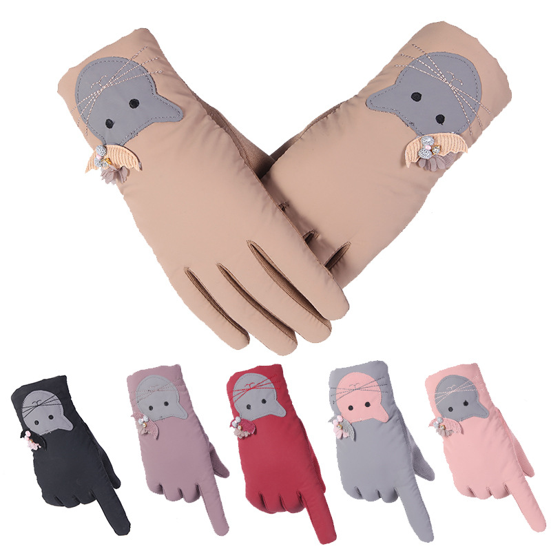 Gloves Lady Outdoor Cycling Thickened And Fleetened Waterproof Wind-proof Touch Screen Warm Winter Gloves