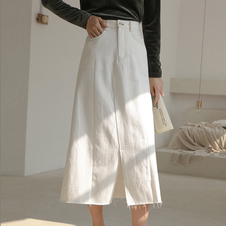 2020 Women A-Line Cotton Material Denim Long Skirt Vintage High Waist White Skirt Women Summer Skirts Saia Faldas Jupe Femme