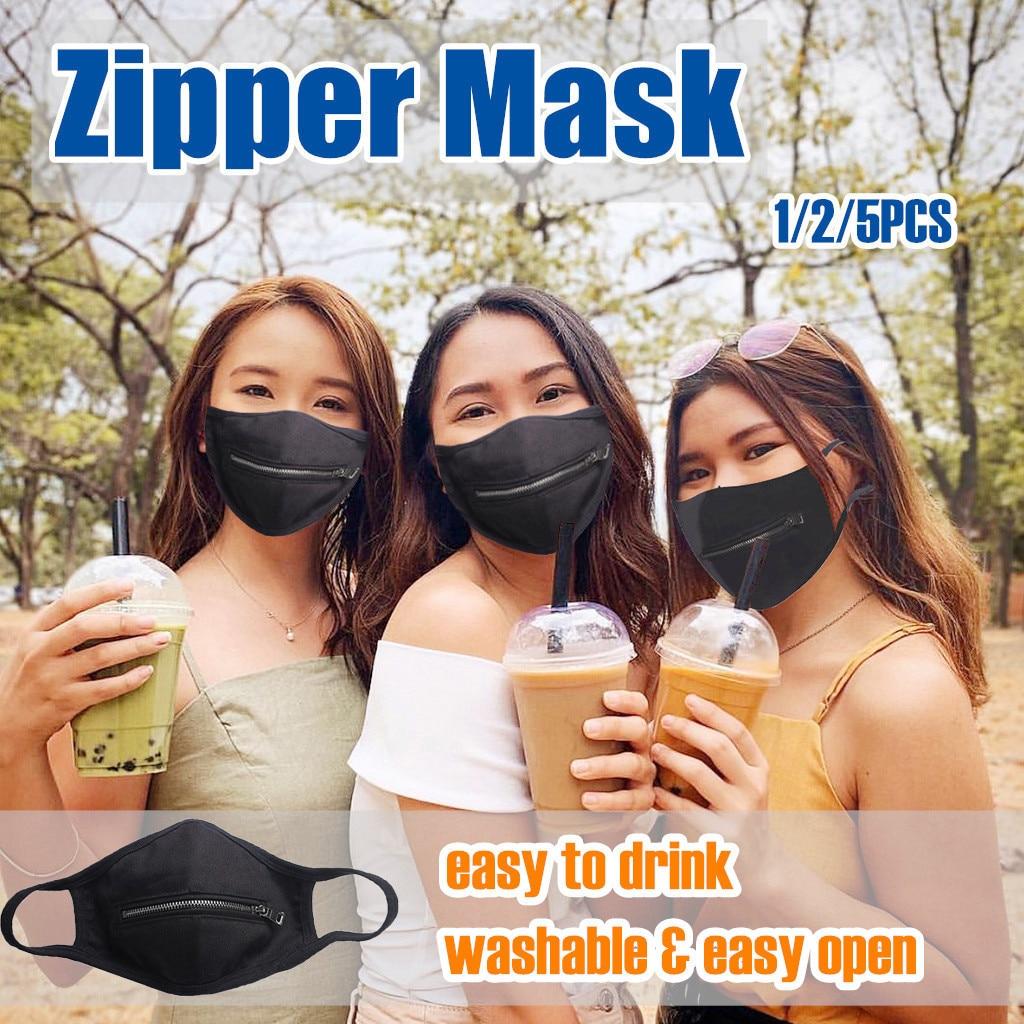 Solid Washable Zipper Mask
