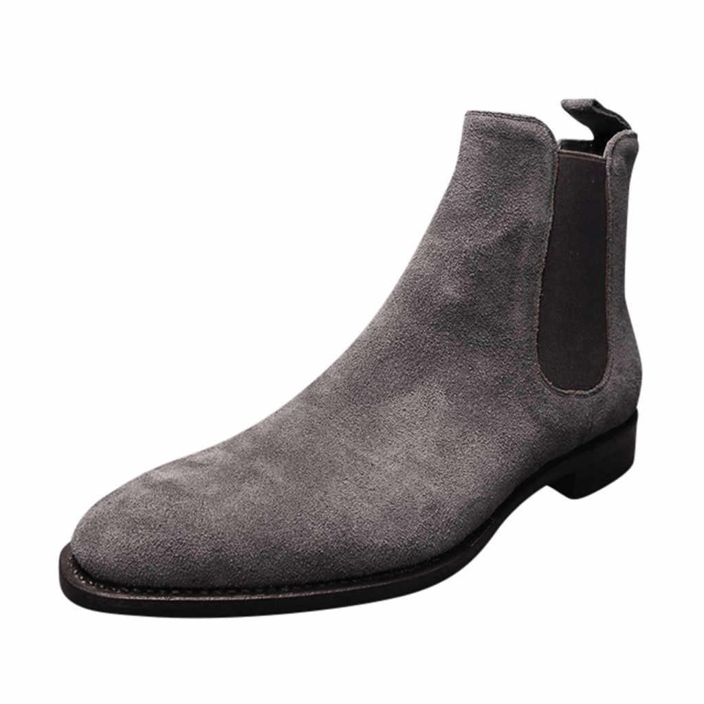 Chelsea Stiefel Männer Herbst Winter High Top Stiefeletten Spitz Flock Marke Winter Schuhe Mode Herren Stiefel # D