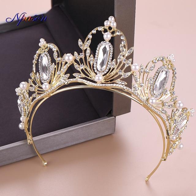 NPASON, женские Украшения для волос, жемчуг, кристалл, диадемы и короны для свадьбы, аксессуары для волос, роскошные королевские диадемы, распро...