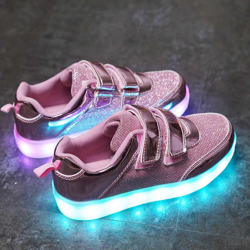 ขนาด 25-37 USB ชาร์จตะกร้าเด็ก Led รองเท้า Light Up ลำลองเด็กชาย & หญิงรองเท้าผ้าใบส่องสว่างเรืองแสงรองเท้า
