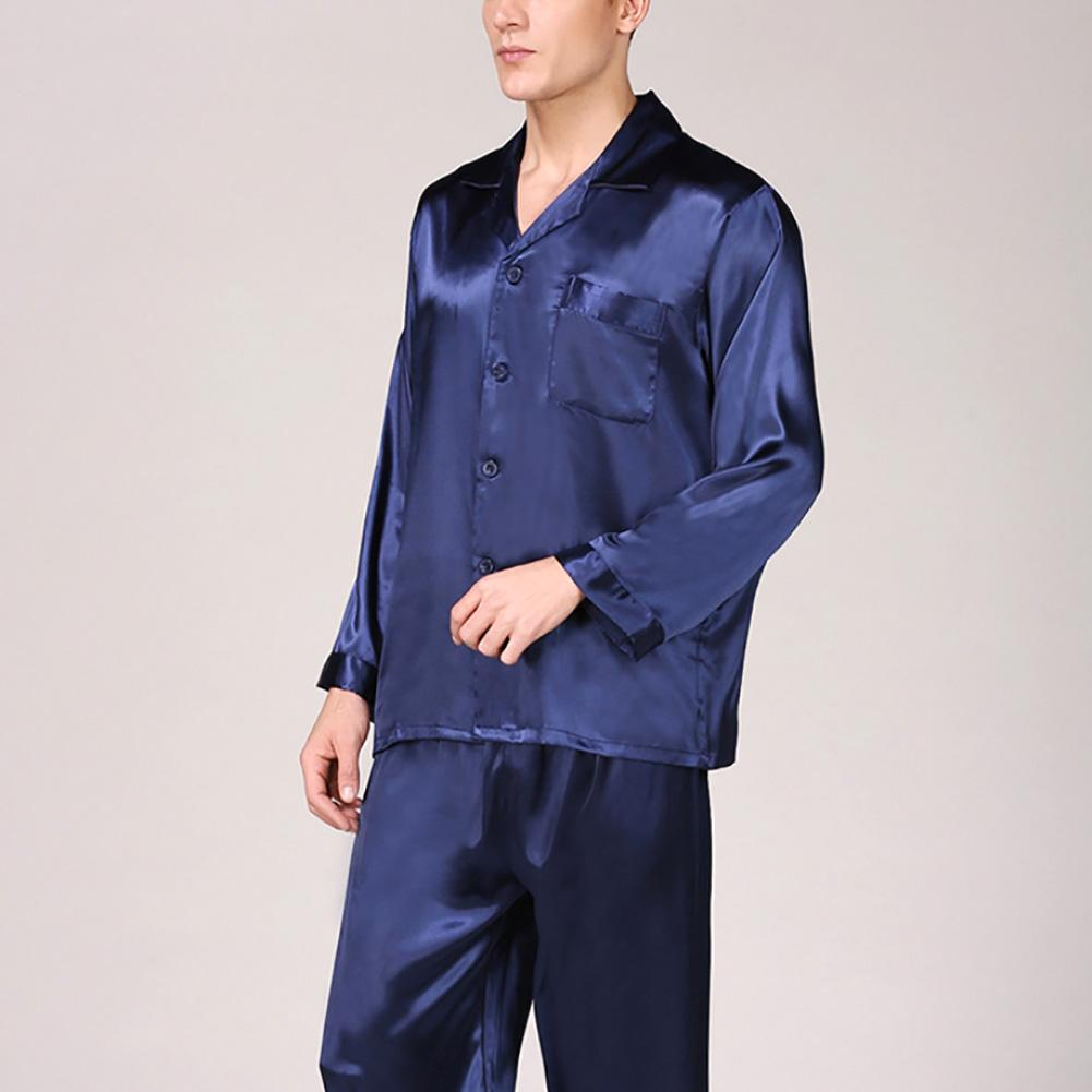 Nightwear Men Black Simulation Silk Pajamas Autumn Winter Long Sleeve Solid Color Set Large Size Home Wear Sleepwear