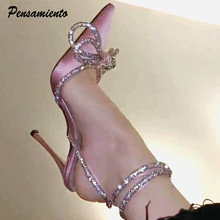 Zapatos de tacón alto de piel auténtica para mujer, calzado de estilo de pasarela con diamantes de imitación brillantes con lazo con cristales de satén para verano, zapatos para fiesta de graduación