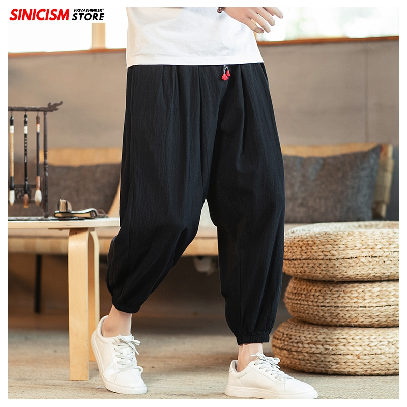 Sinicism Store 2020 Men Plus Size 5XL Summer Chinese Style Casual Pants Mens Fashion Trousers Male Oversize Harem Pants Clothes