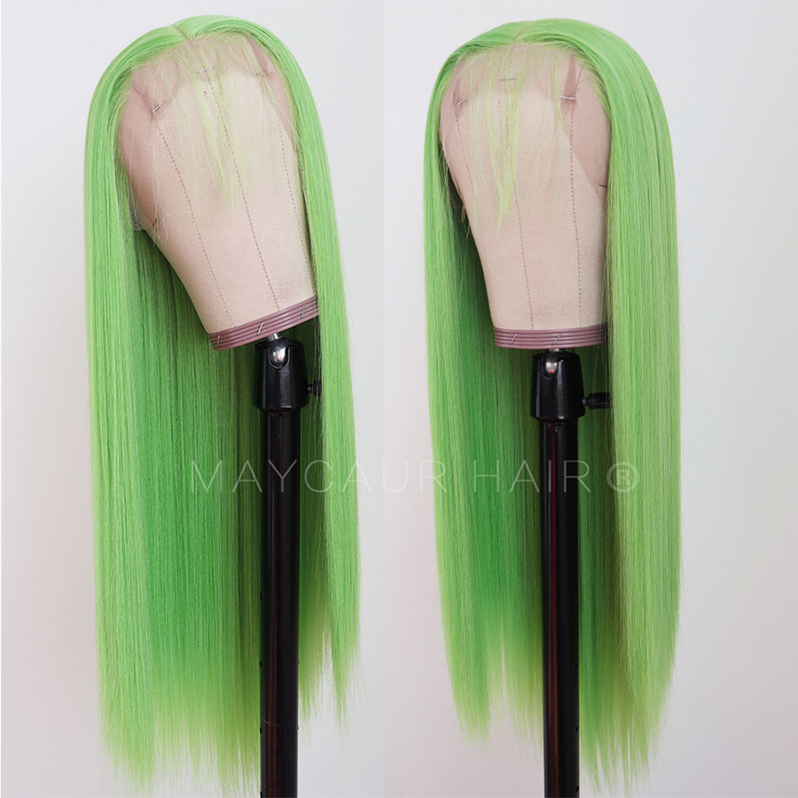 Maycaur Lime Green Pink ace Front Wigs Long Straight Hair 20 Inch Wigs for Black Women Synthetic Lace Front Wigs