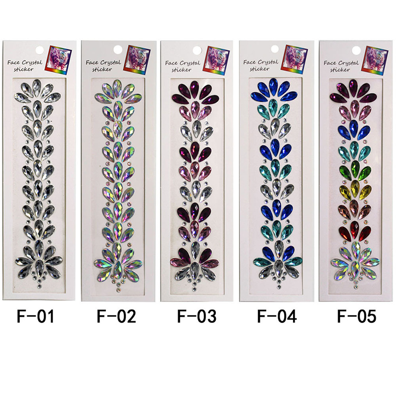 Temporary Rhinestone Festival Shiny 3D Crystal Forehead Headpiece Sticker Hair Jewels Glitter Face Body Gems Tattoo Stickers in Party DIY Decorations from Home Garden