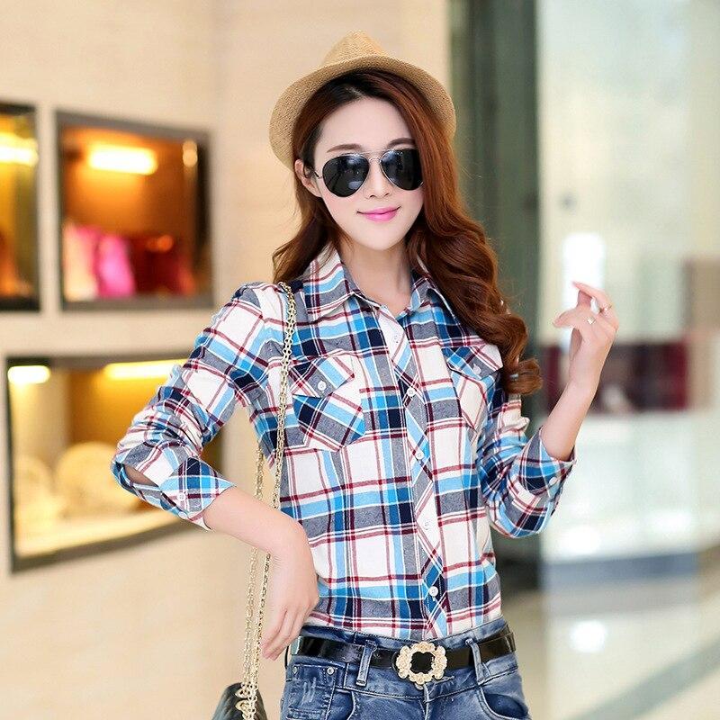 Autumn Spring Blouses Fashion Turn Down Collar Cotton Tops Women's Plaid Shirt Office Work Slim Long-Sleeve Shirts Blusas Mujer 7